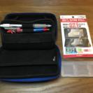『任天堂3DS』カバー青&液晶保護フィルム新品&備品送料無料