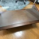 【お譲り先決定】ガラステーブル 本体は木製 ブラウンカラー