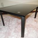 ガラステーブル (ローテーブル) 黒 幅75×奥50×高34cm ...