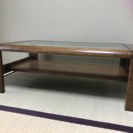 ガラス天板ローテーブル木製