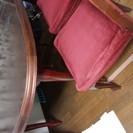 古い高級ダイニングテーブル+椅子5脚