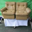 ◆ 中古 高級ソファー 本皮 古い レトロ 汚れ・傷は年代物ですご...