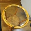 籐製品1・籐ガラステーブル(網製クロス付き)