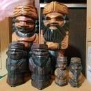 アイヌ ニポポ 木彫り人形 手作り工芸品 手彫り 3セット