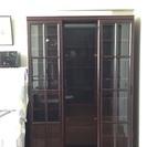 無料 レール移動書棚付き大型木製書棚 ダークブラウン