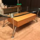 オシャレ引出し付きガラスローテーブル