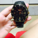27日まで!防水adidas ユニセックス 黒×金 腕時計