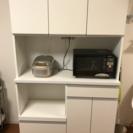 オシャレ 国産食器棚 美品 キッチン 鏡面タイプ 背高190cm