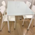 ガラス面テーブル ダイニングセット白美品