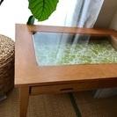 天板ガラス 木目コーヒーテーブル