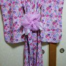 150㎝ 女児浴衣 ピンク色 シフォン帯付
