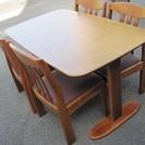 ダイニングセット 天然木 木製テーブル&椅子4脚 ダイニングテーブ...