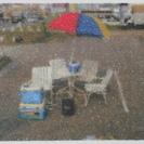中古ガーディン・パラソル・テーブル。日光・雨に強い 野外用ホワイト...