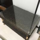 アジアン系 ガラス天板ローテーブル
