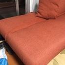 【値下げ・最終処分】二人掛けソファーベッド&クッション2個(オレンジ色)