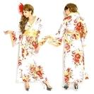 ゴールドパイピング和柄花柄サテン着物ロングドレス