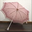 折りたたみ 日傘 薄ピンク 刺繍