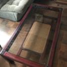 花梨材 ガラス天板テーブル