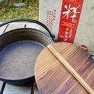 中古 木蓋付きすき焼き鍋(鉄鋳物、26cm、電磁調理器対応)