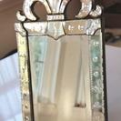 ガラスのプリンセスミラー 置き鏡 壁掛け鏡 スタンド付き鏡