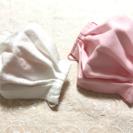 大人上品な立体プリーツマスク 純白お花レースとピンクガーゼ 2枚組