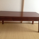 木製ローテーブル ウォールナッツ 引き出し付き