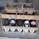 古民家改修支援-蔵出し品 アンティーク酒箱と瓶セット