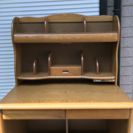 【値下げ】木製デスク  収納型ライト・棚・引出し 付き