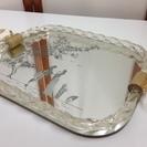 アンティーク 鏡デザイントレー 鏡×木製
