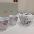 日本茶 ティーセット 湯のみ×2/急須(茶漉し付き)×1 3点セット