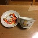 幼児用 プーさんの お茶碗・ミニプレートセット 中古
