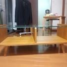 ナチュラルウッド色 テーブル 90cm×42cm×高さ38cm ガ...