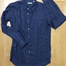 ユニクロ プレミアムリンネシャツ サイズL ネイビー