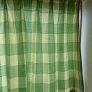 【カーテン⑨】緑モザイク型・すぐにかけられるフック付