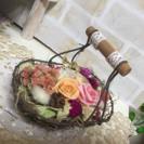 お花のかご盛りアレンジメント