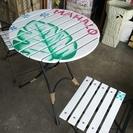 [ハワイアンビーチスタイル風折り畳みテーブル&チェア]ガーデンテー...