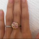 お花とパールのリング