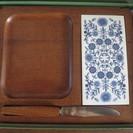 北欧◆昭和レトロ 木製フルーツボード 箱入未使用陶器 タイル 花柄...