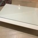 ニトリ 美品ガラステーブル白