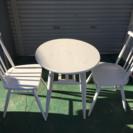 配達可 かわいい テーブルチェア3点セット ホワイト白