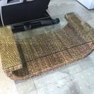籐家具 ガラス天板ローテーブル