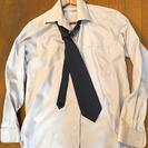 ●現役●(仮装おススメ)シルバー灰 ワイシャツ+ドット柄ブルーネク...