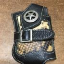 【大幅値下げ】携帯ホルダー  本革蛇皮仕様 ブラック