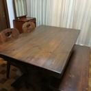 「木目ダイニングテーブルセット」テーブル&チェア&ベンチ