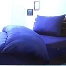 シングルベッドカバー3点セット 色・ネイビー