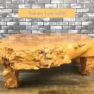瘤 一枚板 座卓 ローテーブル 天然 コブ 4本脚 インテリア ちゃぶ台