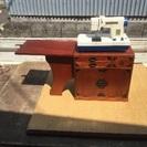 小型電動ミシン  レトロ収納木箱付き