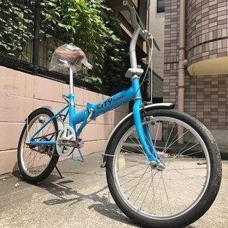 20インチ 折りたたみ自転車 ブルー シングルギア 鹿児島市