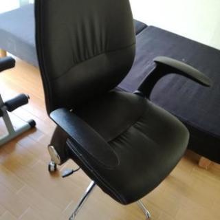 パソコンチェア 黒合革椅子 美品