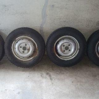 145R12-6PRスタッドレス鉄ホイール4本セット